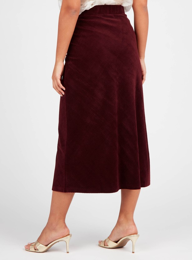Corduroy Textured A-line Midi Skirt with Elasticated Waistband