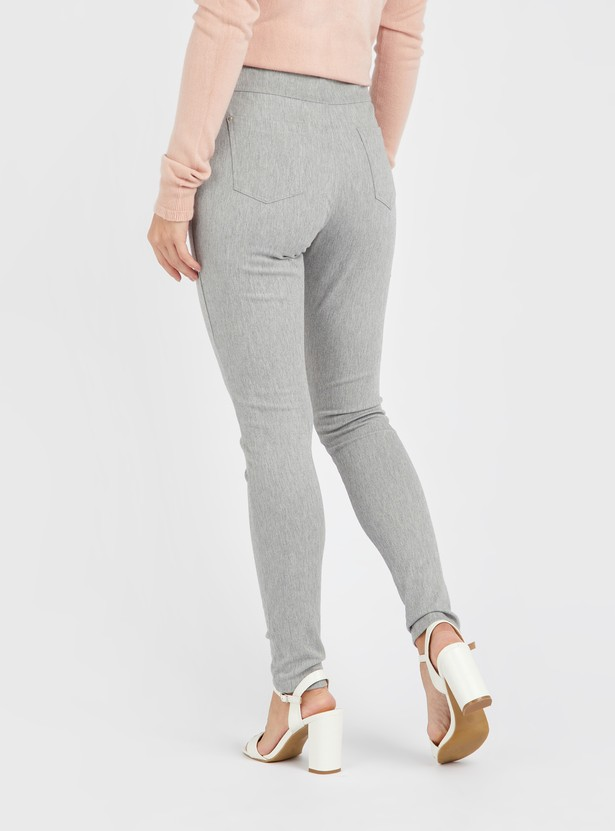 Full Length Solid Leggings with Pocket Detail and Belt Loops