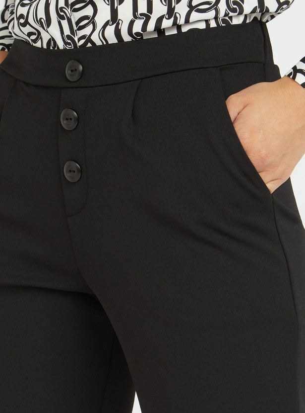 Solid Mid-Rise Pants with Pocket Detail