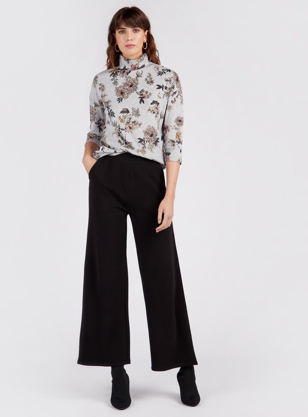 Textured Full Length Mid-Rise Palazzos with Pockets