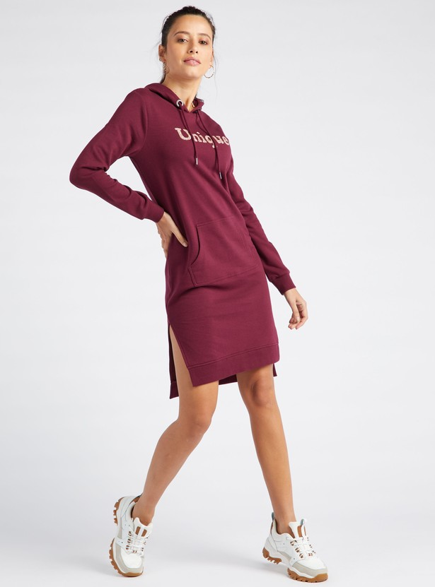 Embellished Bodycon Dress with Long Sleeves and Drawstring Hood
