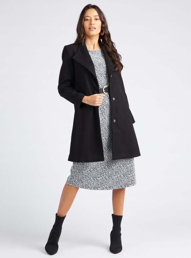 Printed Midi Shift Dress with 3/4 Sleeves