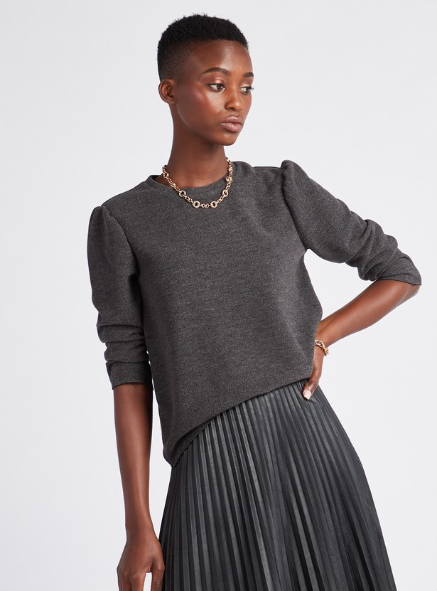 Textured Regular Fit Top with Round Neck and 3/4 Sleeves
