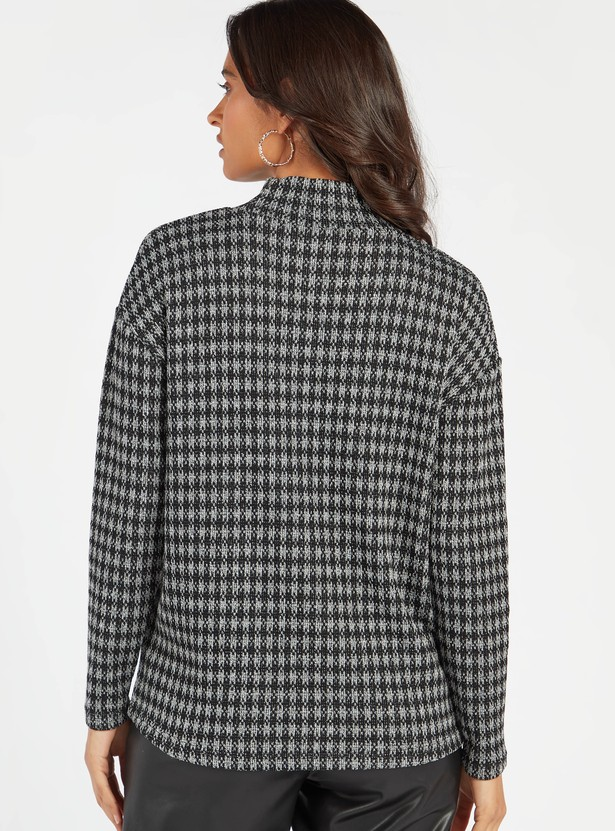 Checked High Neck Jumper with Long Drop Shoulder Sleeves
