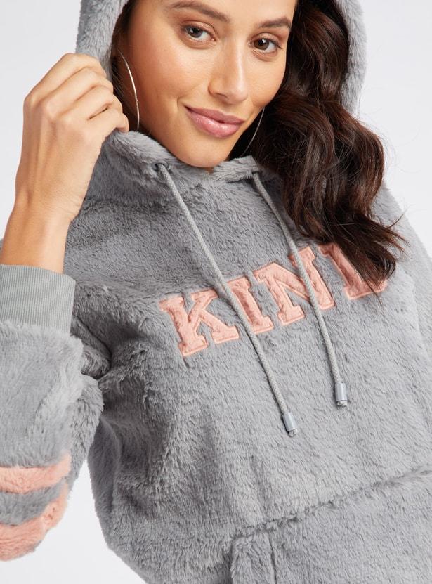 Plush Detail Hoodie with Long Sleeves and Kangaroo Pockets
