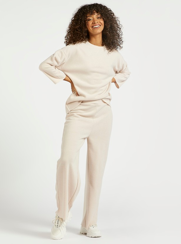 Textured Top with Round Neck and Drop Shoulder Sleeves