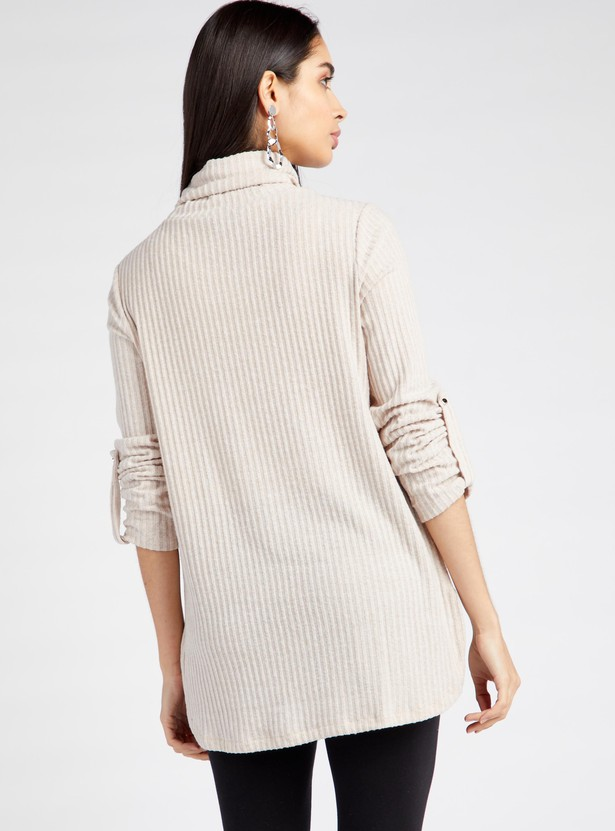 Textured Top with Turtleneck and 3/4 Sleeves