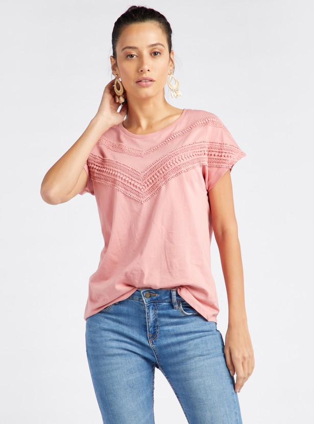 Lace Detail Round Neck T-shirt with Short Sleeves