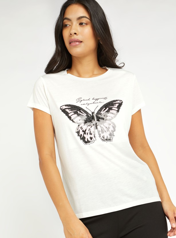 Butterfly Sequin Detail T-shirt with Round Neck and Short Sleeves