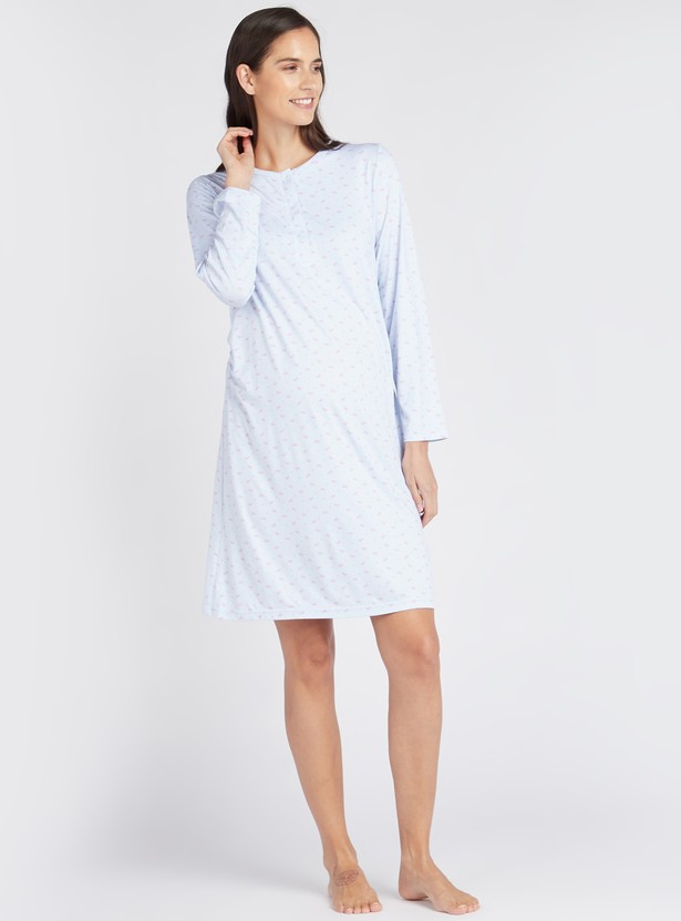 Cozy Collection Printed Maternity Sleepshirt with Long Sleeves