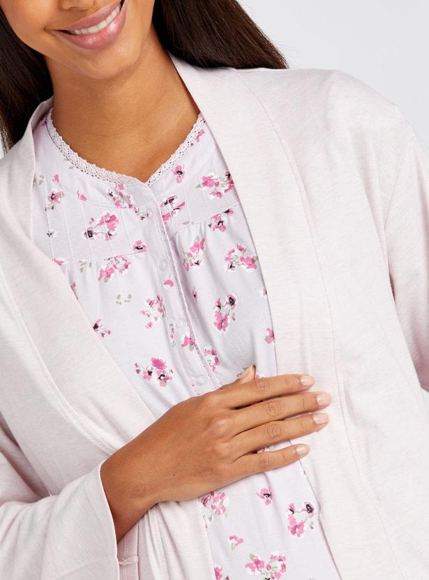 Printed V-Neck Maternity Sleepshirt with Robe