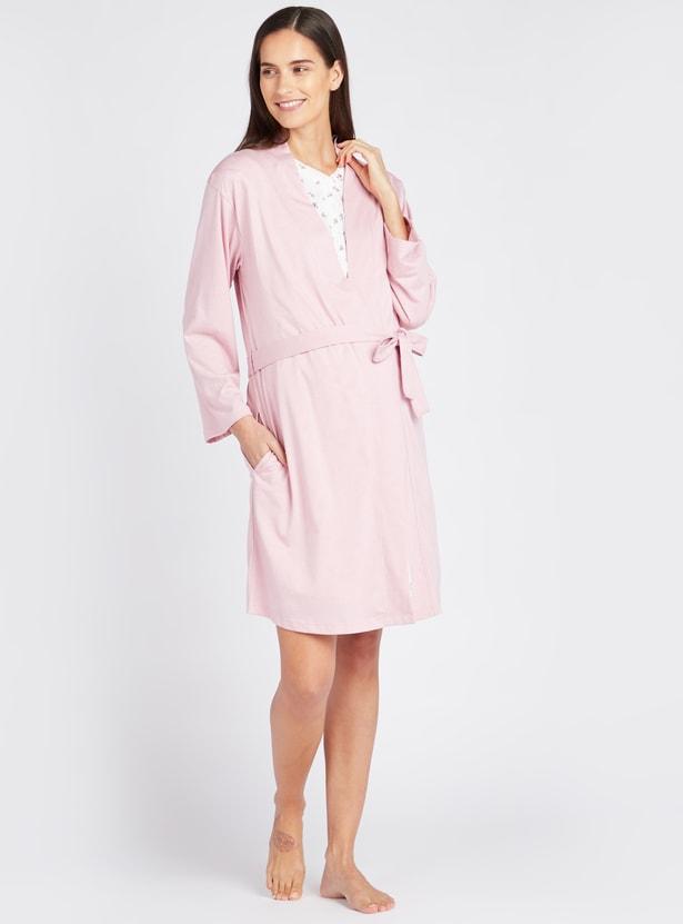 Printed V-Neck Maternity Sleepshirt with Solid Robe