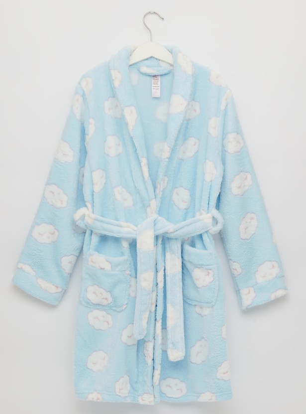 Cozy Collection Printed Plush Robe with Collar and Tie-Ups