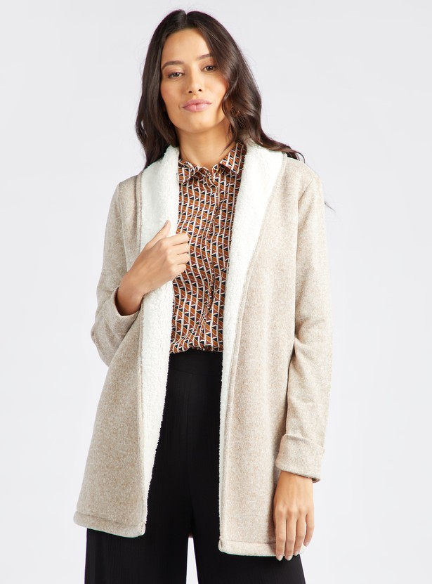 Textured Cardigan with Long Sleeves and Fur Detail