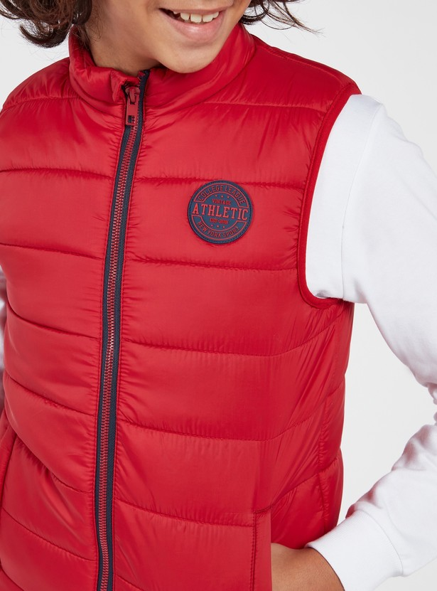 Quilted Front Zip Sleeveless Jacket with Pockets