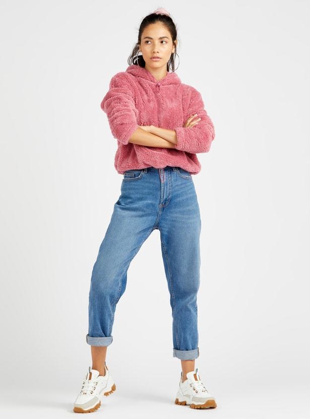 هودي قماش تيدي بأكمام طويلة وأطراف أربطة متداخلة