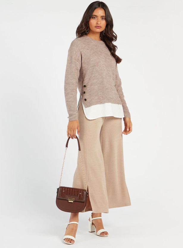 Double Layer Textured Sweater with Round Neck and Long Sleeves