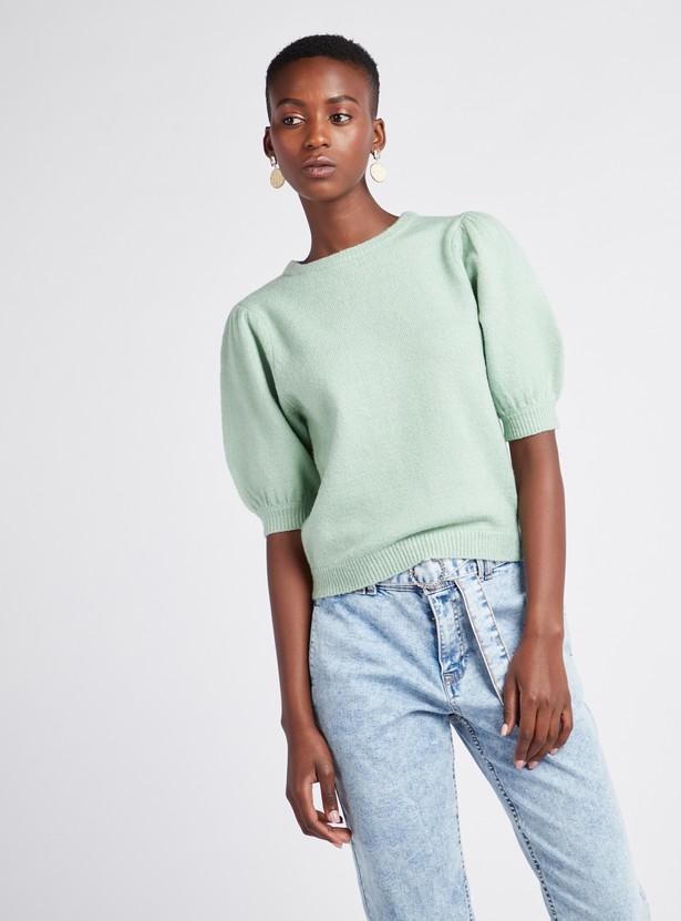 Textured Round Neck Sweater with Short Volume Sleeves