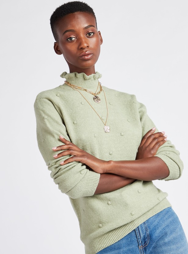 Textured High Neck Sweater with Long Sleeves and Applique Detail