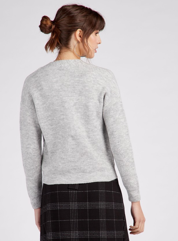 Textured V-Neck Cardigan with Long Sleeves