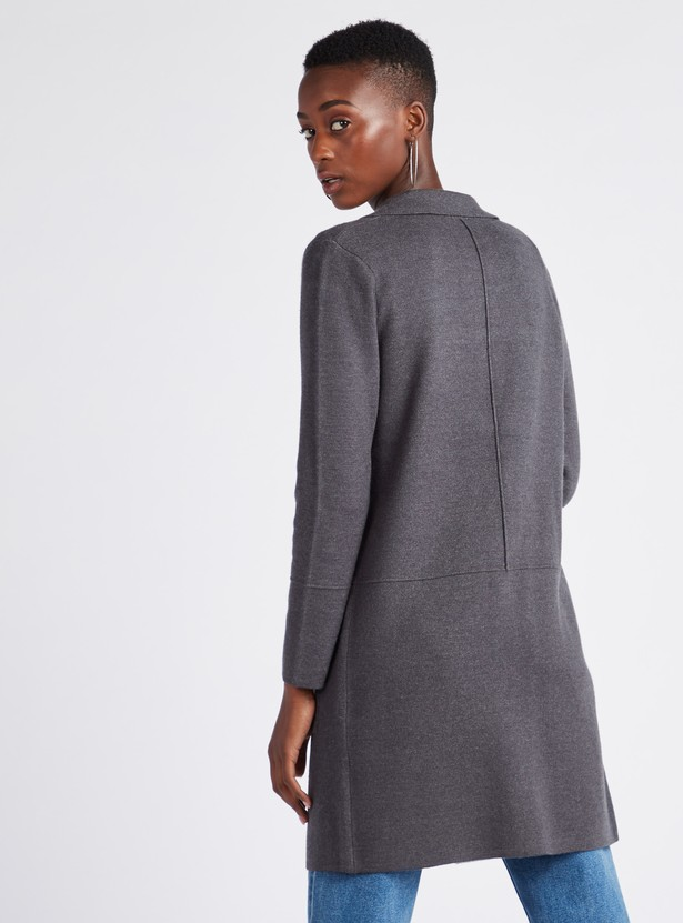 Textured Coatigan with Notch Collar and Long Sleeves