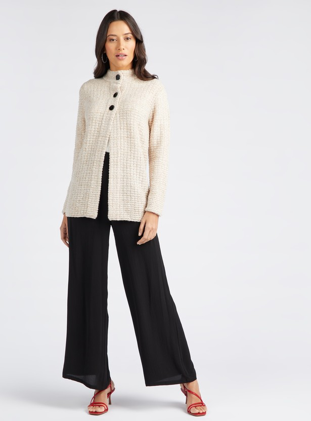 Textured Cardigan with High Neck and Long Sleeves