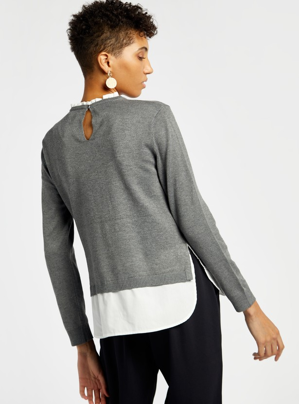 Double Layered Round Neck Sweater with Long Sleeves