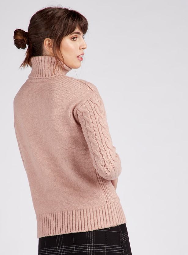 Textured Turtleneck Sweater with Long Sleeves