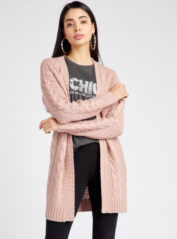 Heavy Cable Knit Open Front Cardigan with Long Sleeves