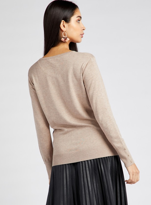 Solid Cardigan with Round Neck and Long Sleeves
