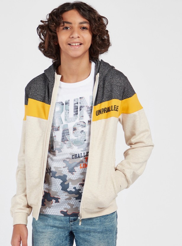 Colourblock Jacket with Hood and Long Sleeves
