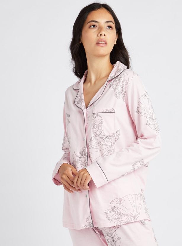 Princess Print Sleep Shirt and Full Length Pyjama Set