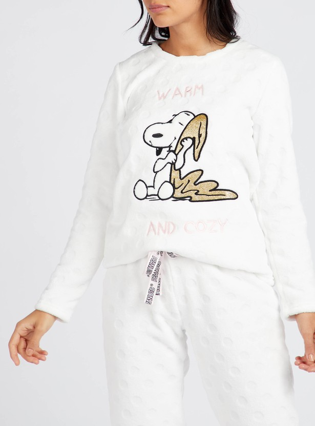 Cozy Collection Snoopy Print T-shirt and Full Length Pyjama Set