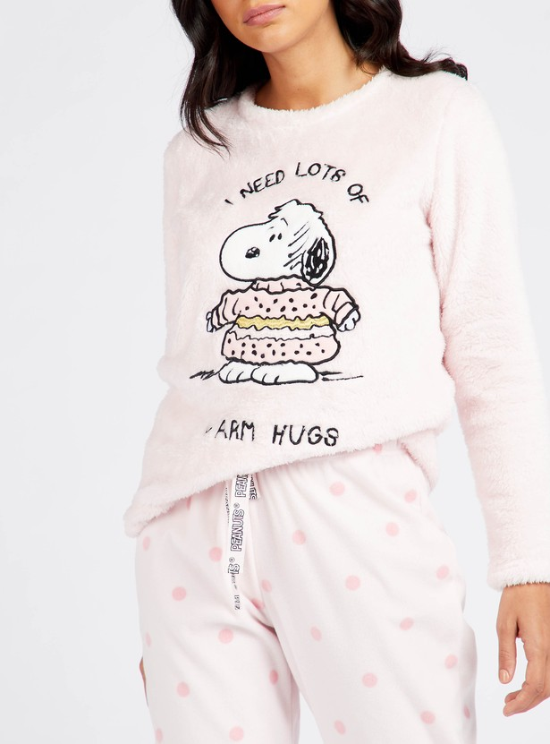 Cozy Collection Textured T-shirt and Full Length Pyjama Set