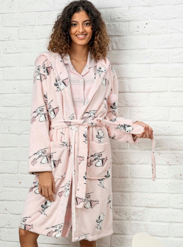 Cozy Collection Printed Plush Robe with Hooded Neck and Belted Waist