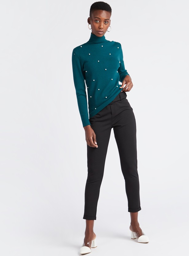 Embellished Turtle Neck Sweater with Long Sleeves