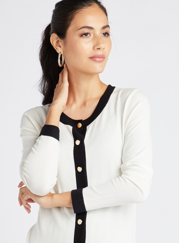 Textured Cardigan with Contrast Tipping