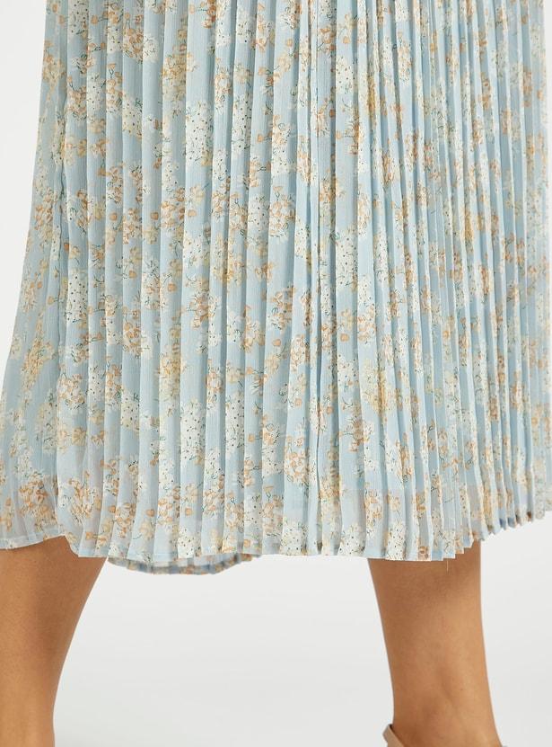 فستان ميدي إيه لاين بكشكشة وطبعات أزهار أربطة