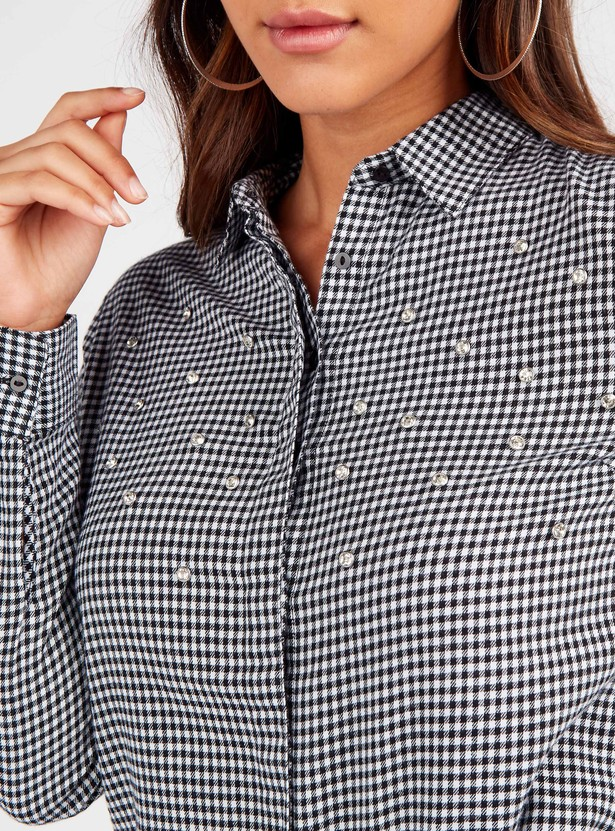 Checked Shirt with Long Sleeves and Embellishment Detail