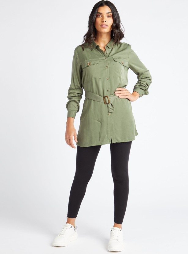 Solid Collared Tunic with Long Sleeves and Button Front Closure