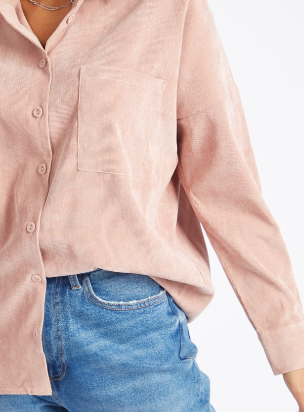 Textured Corduroy Shirt with Spread Collar and Long Sleeves