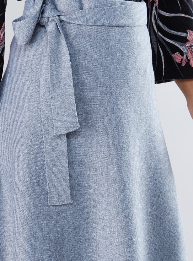 Textured Midi Skirt with Tie Up