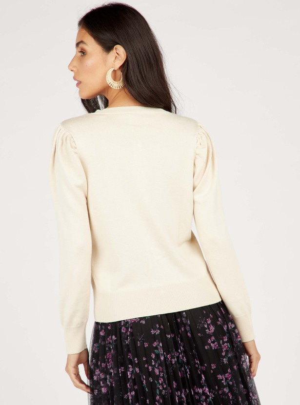 Solid Round Neck Cardigan with Long Sleeves and Front Button Closure