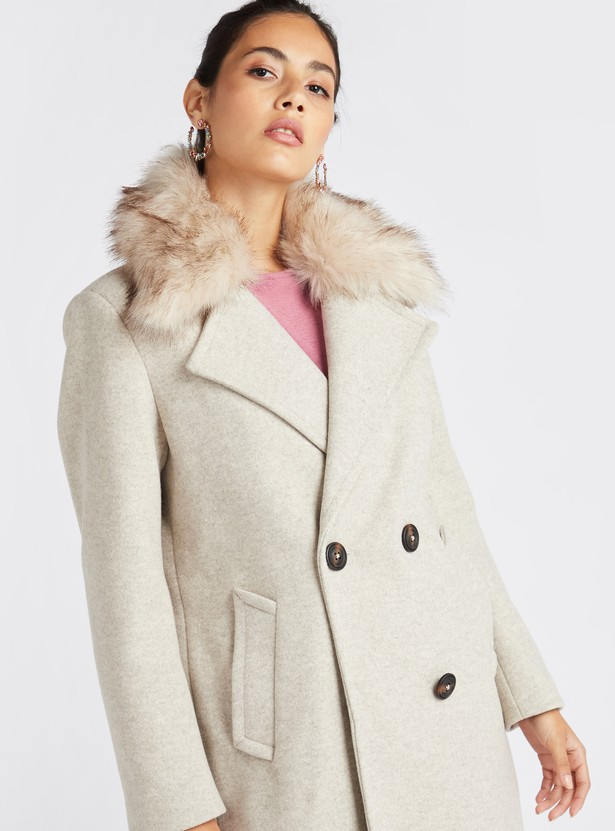 Textured Overcoat Fur Collar Jacket with Long Sleeves
