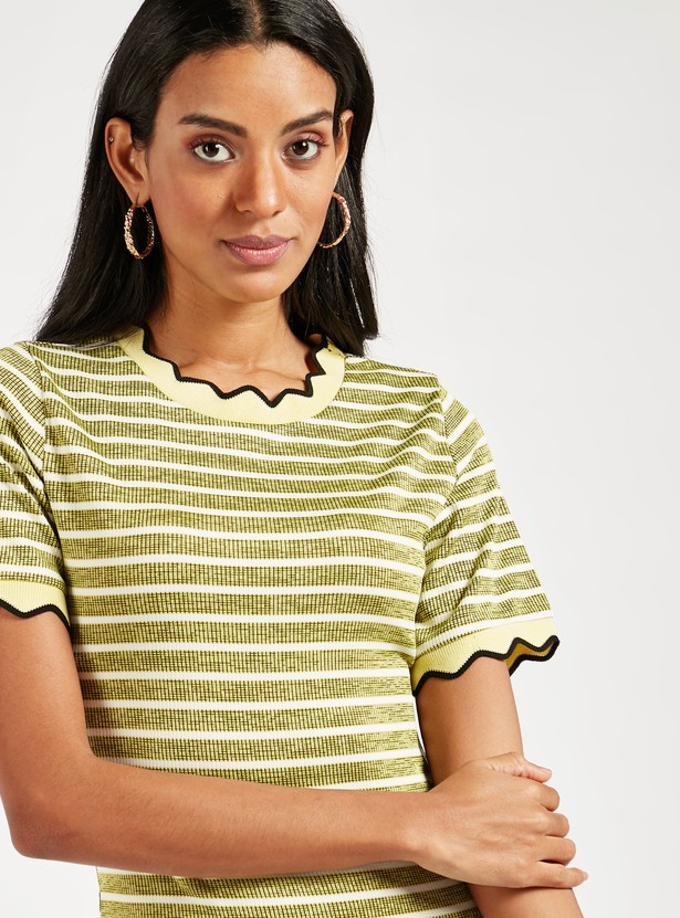 Striped Mini Bodycon Dress with Short Sleeves