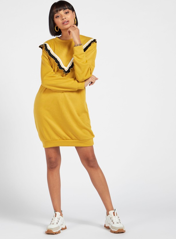 Textured Mini Shift Dress with Long Sleeves