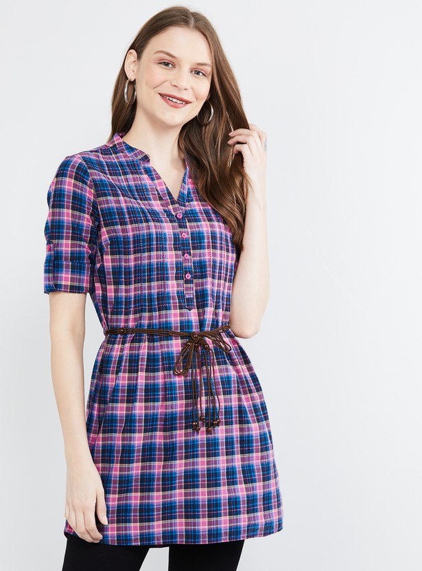 MAX Checked Tunic with Roll-Up Tab Sleeves