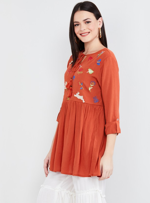 MAX Printed Gather Detailed Tunic