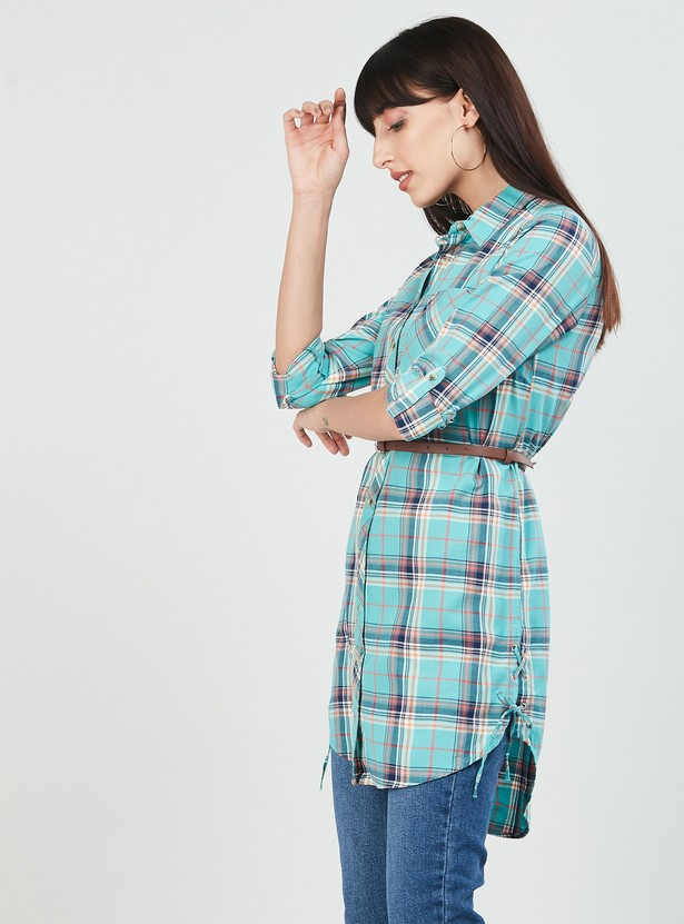 MAX Checked High-Low Shirt Tunic