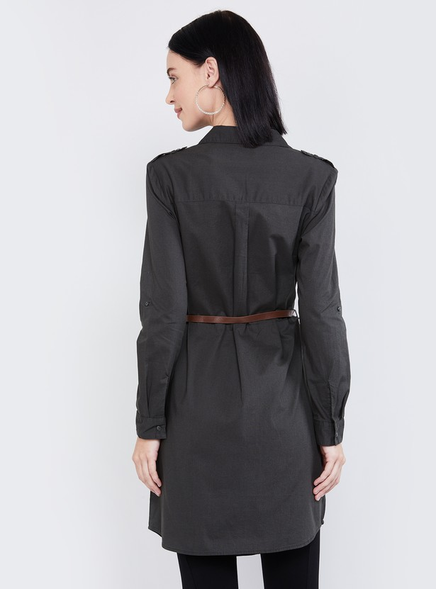 MAX Roll-Up Sleeves Shirt Tunic with Detachable Belt